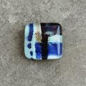 Cabujon cuadrado artesanal de cristal, tonos azules