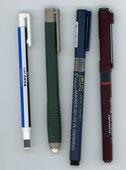 水性ペンと消しゴム: 大小(右から)