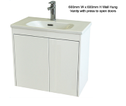 Super Slim Compact Space Saver Narrow Depth 390mm Wall Hung Vanity - 600mm