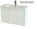 Super Slim Compact Space Saver Narrow Depth 390mm Wall Hung Vanity - 800mm