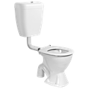 Centino Care with Plastic Cistern Toilet Suite. Available  with blue buttons and blue seat.