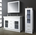 ARTO vanity with glass doors & thick rectangular double basin top - 1200mm