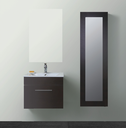 LEONE Walnut Timber Wall Hung Square Basin Vanity (picture illustrates the white option) - 600mm