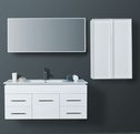 LEONE Walnut Timber Wall Hung Square Basin Vanity (picture illustrates the white option) - 1200mm