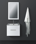 LEONE White Wall Hung Square Basin Vanity - 600mm