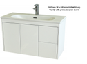 Super Slim Compact Space Saver Narrow Depth 390mm Wall Hung Vanity - 900mm
