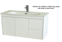 Super Slim Compact Space Saver Narrow Depth 390mm Wall Hung Vanity - 1000mm