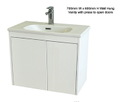 Super Slim Compact Space Saver Narrow Depth 390mm Wall Hung Vanity - 700mm