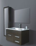 LEONE Walnut Timber Wall Hung Square Basin Vanity (picture illustrates the white option) - 900mm