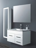 LEONE White Wall Hung Square Basin Vanity - 900mm