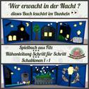 Quiet book Spielbuch Nähanleitung Nähanfänger Wer erwacht bei Nacht? Leuchtgarn Reflexgarn