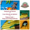 Quiet book Activity book Spielbuch aus Filz Teddy der Surfer Teddy bei den Babyschildkröten
