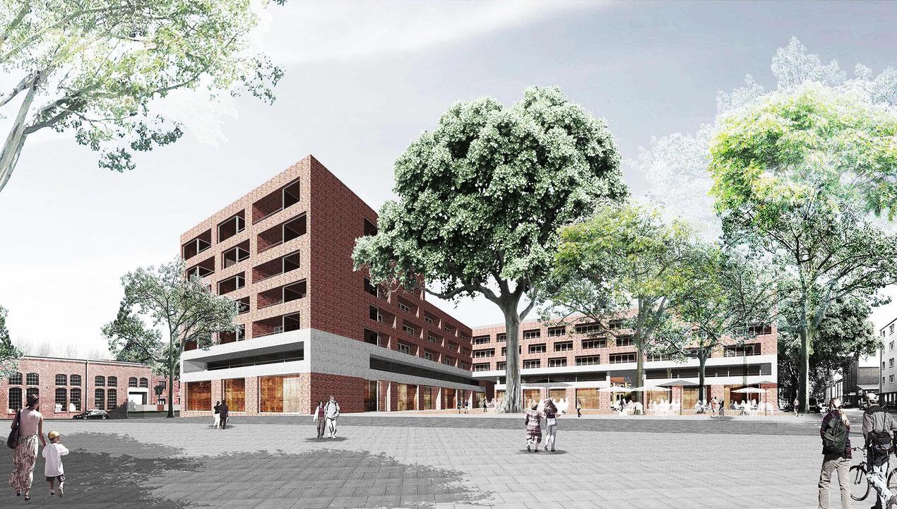 Lindgens-Areal, WvM, Quartiersplatz am Auenweg. Visualisierung trint+kreuder d.n.a