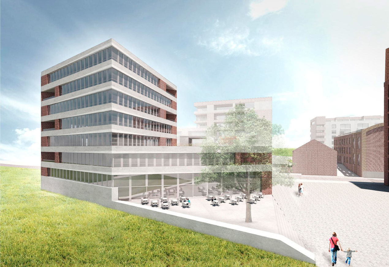 Lindgens-Areal mit Büros und Gastro, WvM. Visualisierung trint+kreuder d.n.a