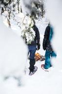 Équipe de travail en raquettes en forêt au bord d'un feu pendant l'hiver québécois durant une journée de team building dans les cantons de l'Est photo pour Évasions Canadiana prise par Marie Deschene photographe pour Pakolla