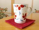赤が効いた陶器の器