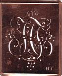 Stickschablone Monogramm HF
