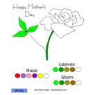 online kleuren : eenvoudig : bloem, blad, stengel
