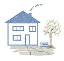 Grafik eines Hauses mit Vorgarten