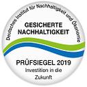 Gesicherte Nachhaltigkeit - Prüfsiegel 2019 - Fleischmann Mietwäsche