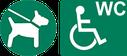 Brave Hunde erlaubt. WC auch für Rollstuhl-Fahrer.