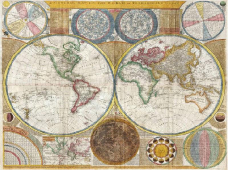 A4 Papel De Arroz-Diseño Vintage Mapa Decoupage Papel hoja de Scrapbook