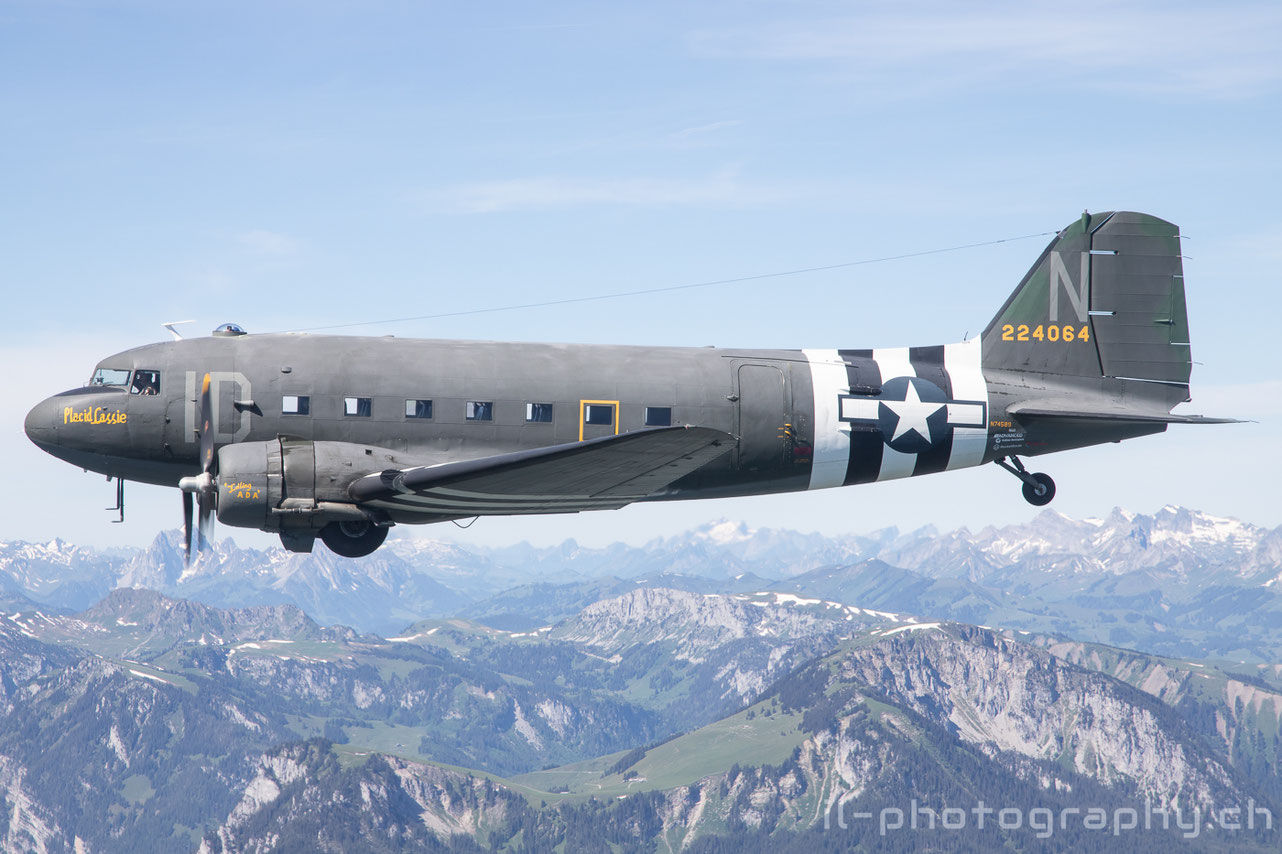 Douglas DC-3 C-47 Placid Lassie and two Classic Formation Beech 18 in the Swiss Alps.