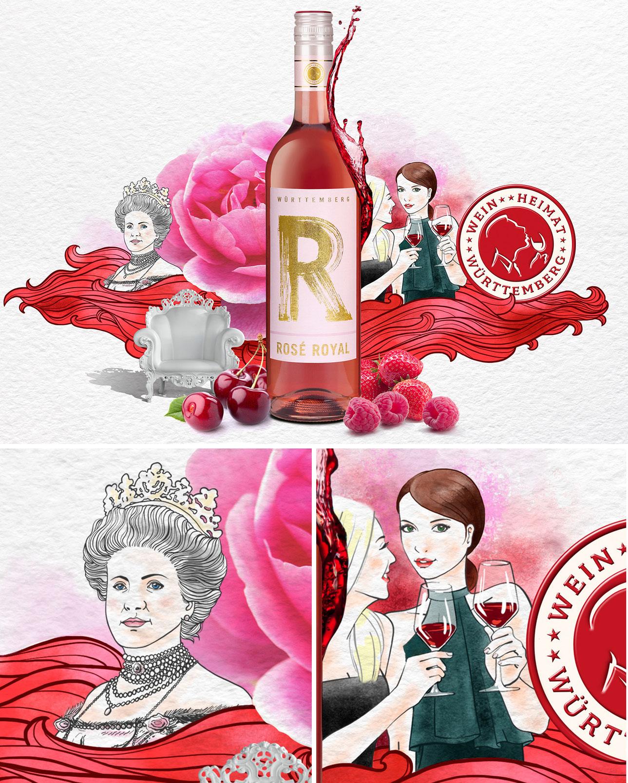 Illustration für den Wein Rose Royal als Key Visual für Website und Flyer für Gweinnspiel. Marina Schilling.