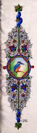 Martin-pêcheur, peinture à la détrempe sur parchemin, inspirée des décors de la Bible de Borso d'Este