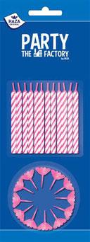 Taartkaarsjes roze 24 stuks €1,05