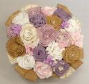 Bouquet de fleurs en tissu et toile de jute