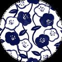 Pattern design Tsubaki indigo blue