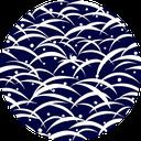 Pattern design Tsuyushiba indigo blue