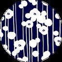 Pattern design Plum indigo blue