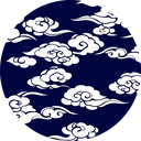 Pattern design Kumo indigo blue