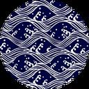 Pattern design Seigaiha indigo blue