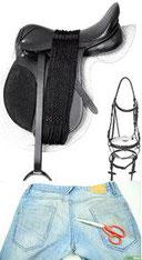 Flicken; Reparieren; Pferdesattel; Riemen; Textilien