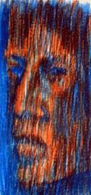 Ausschnit aus Vertikalportraet, Wachskreide auf Papier, 42 cm x 50 cm,  1993