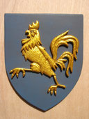 Reproduction Blason coq sculpté