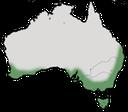 Karte zur Verbreitung des  Weißaugen-Honigfressers in Australien.