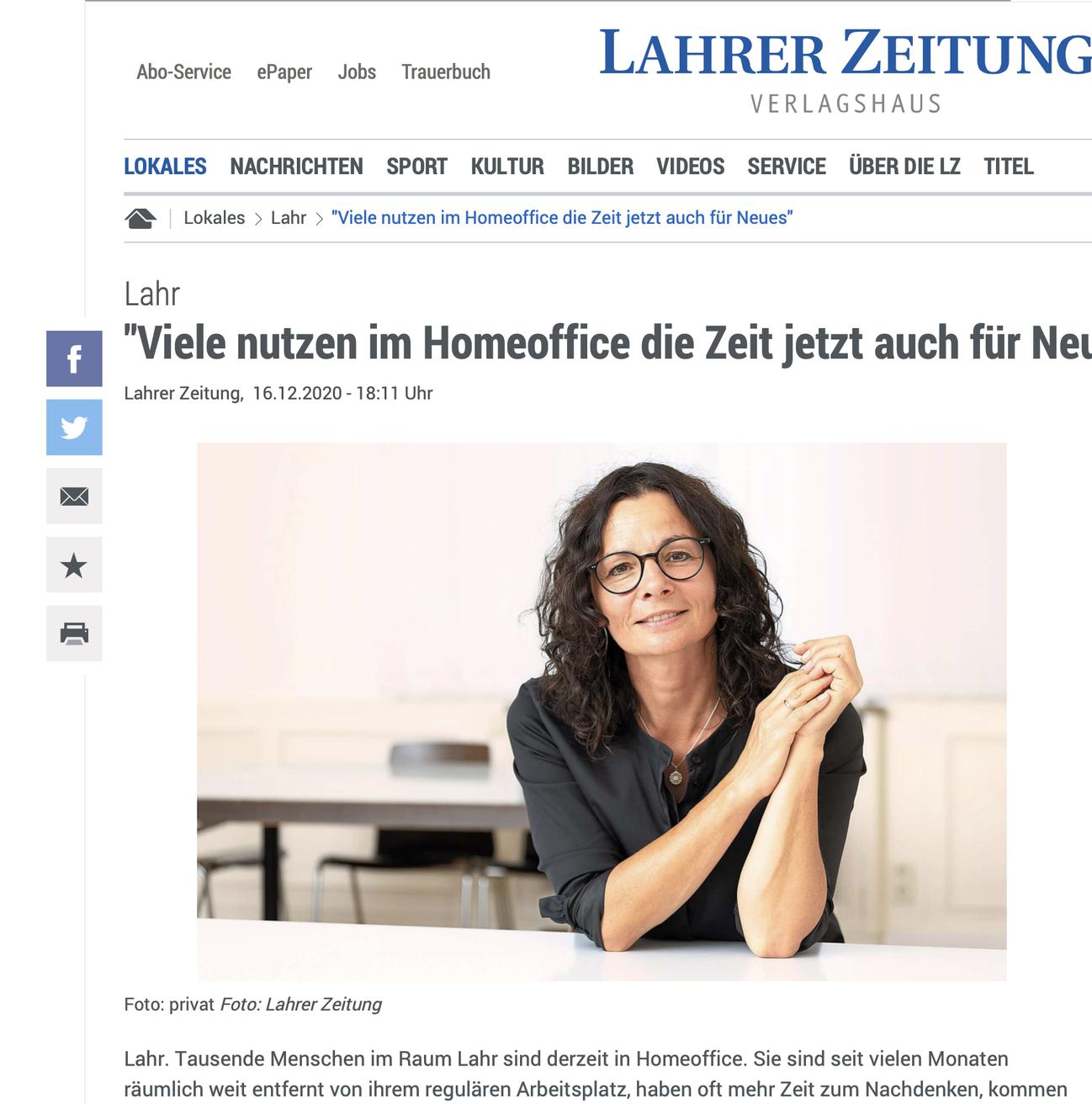"""Artikel der LZ Thema """"Viele nutzen im Homeoffice die Zeit jetzt auch für Neues"""""""