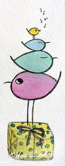 Illustration, Geschenk, auf dem ein Stapel Piepmätze steht