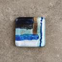 Cabujon artesanal cuadrado de vidrio, color azul