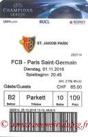 Ticket  FC Bâle-PSG  2016-17