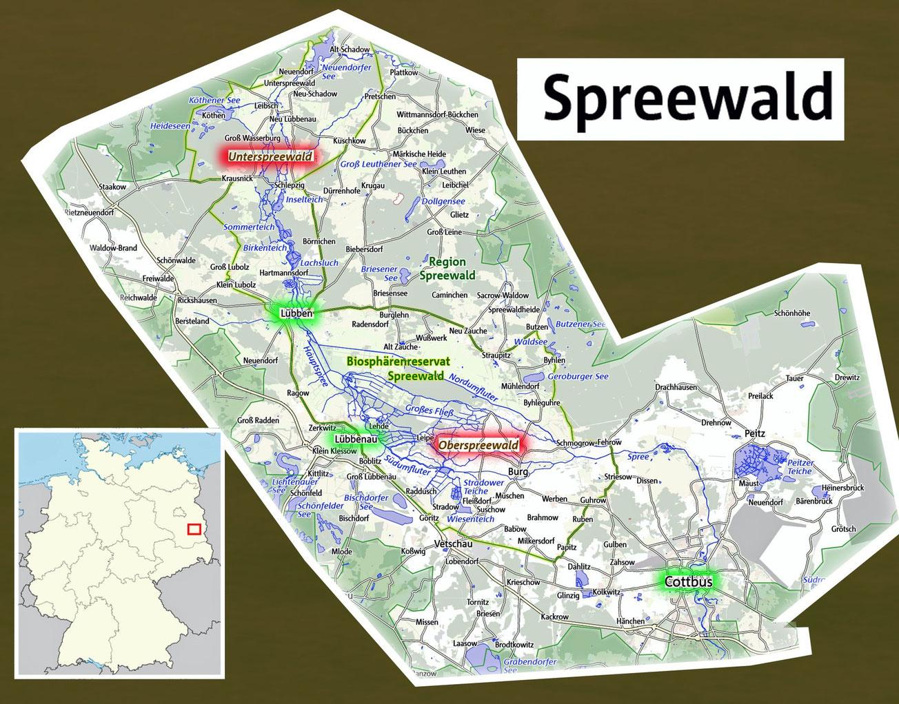 Unterspreewald Richtung Berlin, Oberspreewald Richtung Cottbus