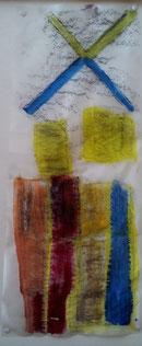Abklatschtechnik Pflasterstein auf Pergamentpapier