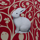 Follow the white rabbit! 100 x 100 cm