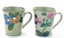 九谷焼 ペアマグカップ しだれ桜緑塗り&ソメイヨシノ緑塗り