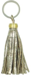 Pompon cuir doré marbré - porte clés -- accessoire L'Insolente Paris