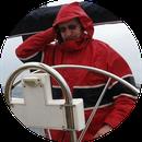 Steuermann im Regen